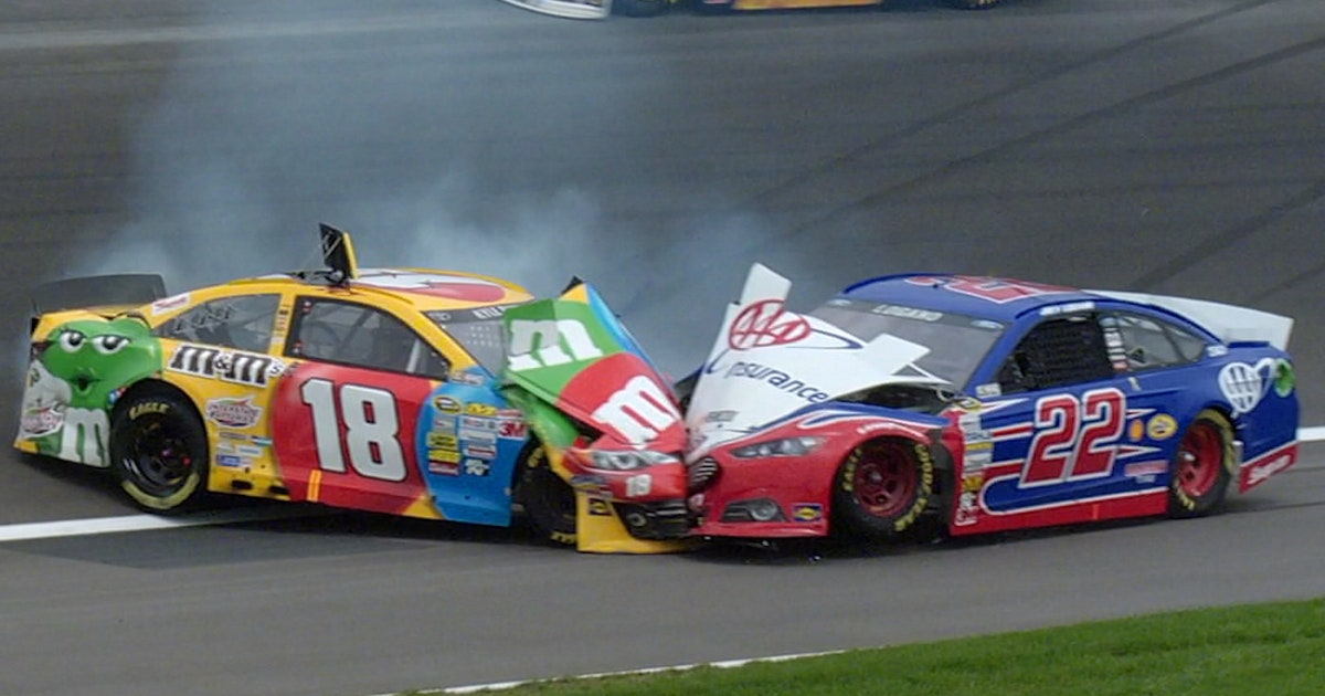 Throwback to Kyle Busch and Joey Logano's head-on collision at Kansas (VIDEO)
