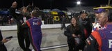 An angry fan tried to confront Denny Hamlin after his run-in with Chase Elliott