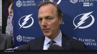 Jon Cooper reacts to the win over the Red Wings