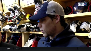 Josh Anderson tips his hat to the opposing goaltender following the Blue Jackets' 2-0 loss