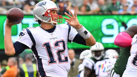 Oct 15, 2017; East Rutherford, NJ, USA; The New England Patriots quarterback Tom Brady (12) throws the ball during the 2nd quarter against the New York Jets at MetLife Stadium. Mandatory Credit: Robert Deutsch-USA TODAY Sports
