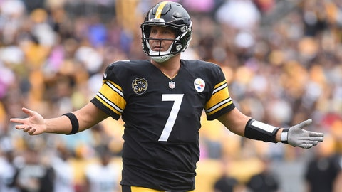 Oct 8, 2017; Pittsburgh, PA, USA;  Pittsburgh Steelers quarterback Ben Roethlisberger (7) looks to the officials for a call in the second quarter against the Jacksonville Jaguars at Heinz Field. The Jaguars won 30-9. Mandatory Credit: Philip G. Pavely-USA TODAY Sports