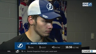 Lightning D Mikhail Sergachev just trying to put together steady play
