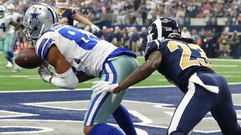 Oct 1, 2017; Arlington, TX, USA; Dallas Cowboys receiver Terrance Williams (83) can not make a catch in the fourth quarter for a two point conversion against Los Angeles Rams cornerback Nickel Robey-Coleman (23) at AT&T Stadium. Mandatory Credit: Matthew Emmons-USA TODAY Sports