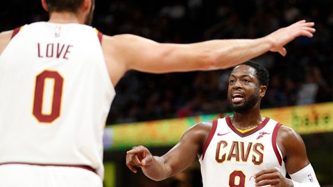 iOct 6, 2017; Cleveland, OH, USA; Cleveland Cavaliers guard Dwyane Wade (9) talks with forward Kevin Love (0) during the first quarter against the Indiana Pacers at Quicken Loans Arena. Mandatory Credit: Raj Mehta-USA TODAY Sports