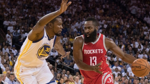 October 17, 2017; Oakland, CA, USA; Houston Rockets guard James Harden (13) dribbles the basketball against Golden State Warriors forward Kevin Durant (35) during the first quarter at Oracle Arena. Mandatory Credit: Kyle Terada-USA TODAY Sports