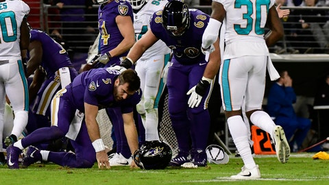 Oct 26, 2017; Baltimore, MD, USA;  Baltimore Ravens center Matt Skura (68) checks on  quarterback Joe Flacco (5) as he kneels on the ground during the second quarter against the Miami Dolphins at M&T Bank Stadium. Mandatory Credit: Tommy Gilligan-USA TODAY Sports