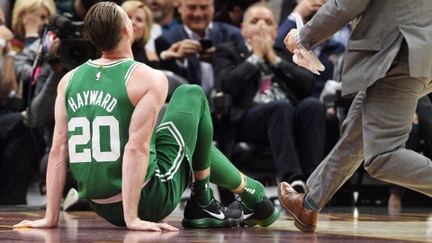 Oct 17, 2017; Cleveland, OH, USA; Boston Celtics forward Gordon Hayward (20) sits on the court after injuring his ankle during the first half against the Cleveland Cavaliers at Quicken Loans Arena. Mandatory Credit: Ken Blaze-USA TODAY Sports