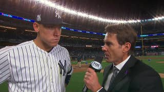 Aaron Judge talks to Tom Verducci after the Yankees' game 3 victory