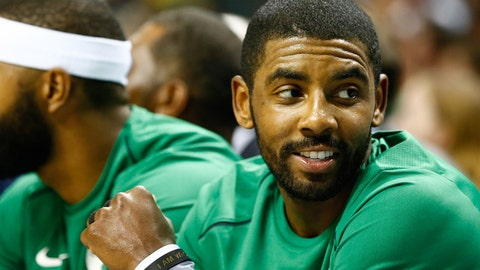 Oct 11, 2017; Charlotte, NC, USA; Boston Celtics guard Kyrie Irving (11) sits on the bench in the second half against the Charlotte Hornets at Spectrum Center. Mandatory Credit: Jeremy Brevard-USA TODAY Sports