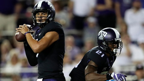 Oct 21, 2017; Fort Worth, TX, USA; TCU Horned Frogs quarterback Kenny Hill (7) throws during the first quarter against the Kansas Jayhawks  at Amon G. Carter Stadium. Mandatory Credit: Kevin Jairaj-USA TODAY Sports