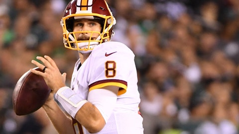 Oct 23, 2017; Philadelphia, PA, USA; Washington Redskins quarterback Kirk Cousins (8) looks for a receiver against the Philadelphia Eagles at Lincoln Financial Field. Mandatory Credit: Eric Hartline-USA TODAY Sports