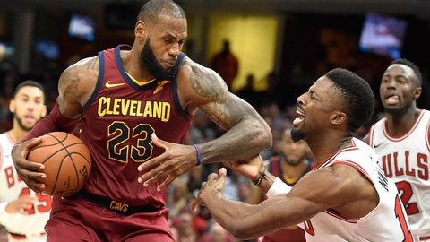 Oct 24, 2017; Cleveland, OH, USA; Cleveland Cavaliers forward LeBron James (23) drives against Chicago Bulls guard David Nwaba (11) in the fourth quarter at Quicken Loans Arena. Mandatory Credit: David Richard-USA TODAY Sports