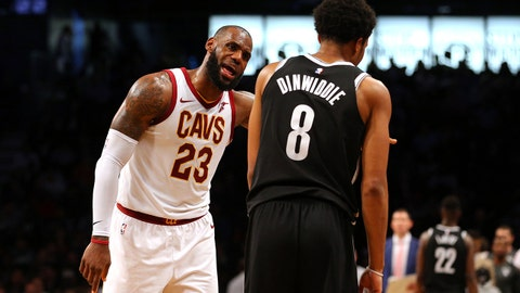 Oct 25, 2017; Brooklyn, NY, USA; Cleveland Cavaliers small forward LeBron James (23) argues with Brooklyn Nets point guard Spencer Dinwiddie (8) during the second quarter at Barclays Center. Mandatory Credit: Brad Penner-USA TODAY Sports