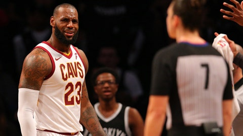 Oct 25, 2017; Brooklyn, NY, USA; Cleveland Cavaliers small forward LeBron James (23) reacts during the fourth quarter against the Brooklyn Nets at Barclays Center. Mandatory Credit: Brad Penner-USA TODAY Sports