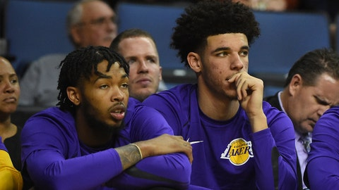 Oct 4, 2017; Ontario, CA, USA; Los Angeles Lakers guard Lonzo Ball (2) and forward Brandon Ingram (14) sit on the bench during the game against the Denver Nuggets at Citizens Business Bank Arena. Mandatory Credit: Jayne Kamin-Oncea-USA TODAY Sports