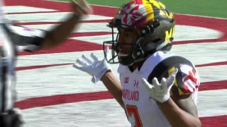 Maryland's Max Bortenschlager connects with Taivon Jacobs for his first touchdown of the day