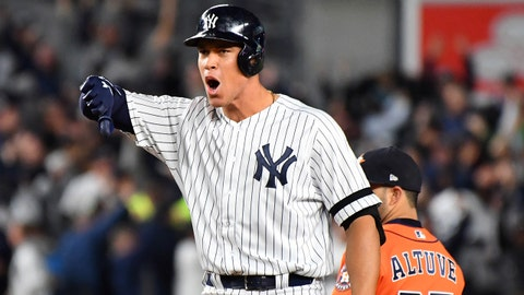 Oct 17, 2017; Bronx, NY, USA; New York Yankees right fielder Aaron Judge (99) reacts after an RBI double against the Houston Astros during the eighth inning in game four of the 2017 ALCS playoff baseball series at Yankee Stadium. Mandatory Credit: Robert Deutsch-USA TODAY Sports