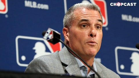 Dec 7, 2016; National Harbor, MD, USA; Kansas City Royals general manager Dayton Moore speaks with the media after announcing a trade of relief pitcher Wade Davis for outfielder Jorge Soler (both not pictured) on day three of the 2016 Baseball Winter Meetings at Gaylord National Resort & Convention Center. Mandatory Credit: Geoff Burke-USA TODAY Sports