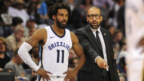 Oct 13, 2017; Memphis, TN, USA; Memphis Grizzlies guard Mike Conley (11) and head coach David Fizdale during the first half against the New Orleans Pelicans at FedExForum. Mandatory Credit: Justin Ford-USA TODAY Sports