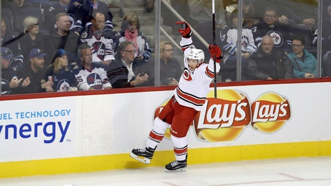 Carolina Hurricanes' Jeff Skinner (53) celebrates after scoring during the first period of an NHL hockey game against the Winnipeg Jets, Saturday, Oct. 14, 2017 in Winnipeg, Manitoba. (Trevor Hagan/The Canadian Press via AP)