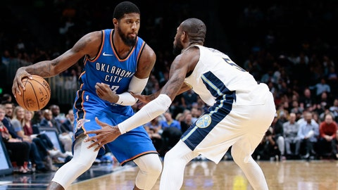 Oct 10, 2017; Denver, CO, USA; Denver Nuggets guard Will Barton (5) guards Oklahoma City Thunder forward Paul George (13) in the third quarter at the Pepsi Center. Mandatory Credit: Isaiah J. Downing-USA TODAY Sports