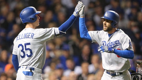 Oct 17, 2017; Chicago, IL, USA; Los Angeles Dodgers shortstop Chris Taylor (3) celebrates with first baseman Cody Bellinger (35) after hitting a solo home run against the Chicago Cubs in the third inning during game three of the 2017 NLCS playoff baseball series at Wrigley Field. Mandatory Credit: Dennis Wierzbicki-USA TODAY Sports
