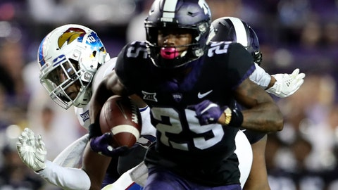Oct 21, 2017; Fort Worth, TX, USA; TCU Horned Frogs wide receiver KaVontae Turpin (25) runs during the first half against the Kansas Jayhawks at Amon G. Carter Stadium. Mandatory Credit: Kevin Jairaj-USA TODAY Sports