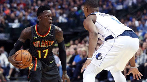 Oct 18, 2017; Dallas, TX, USA; Atlanta Hawks guard Dennis Schroder (17) dribbles as Dallas Mavericks guard Dennis Smith Jr. (1) defends during the first half at American Airlines Center. Mandatory Credit: Kevin Jairaj-USA TODAY Sports