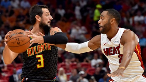 Oct 23, 2017; Miami, FL, USA; Atlanta Hawks guard Marco Belinelli (3) is pressured by Miami Heat guard Wayne Ellington (2) during the first half at American Airlines Arena. Mandatory Credit: Steve Mitchell-USA TODAY Sports