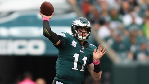 Oct 8, 2017; Philadelphia, PA, USA; Philadelphia Eagles quarterback Carson Wentz (11) looks to pass in the second quarter against the Arizona Cardinals at Lincoln Financial Field. Mandatory Credit: James Lang-USA TODAY Sports