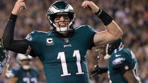 Oct 23, 2017; Philadelphia, PA, USA; Philadelphia Eagles quarterback Carson Wentz (11) reacts to a touchdown against the Washington Redskins during the fourth quarter at Lincoln Financial Field. Mandatory Credit: Bill Streicher-USA TODAY Sports