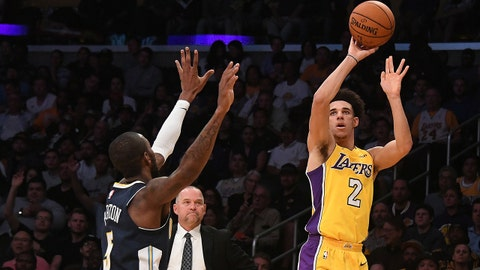 Oct 2, 2017; Los Angeles, CA, USA; Los Angeles Lakers guard Lonzo Ball (2) shoots the ball in front of Denver Nuggets guard Will Barton (5) during the second half at Staples Center. Mandatory Credit: Richard Mackson-USA TODAY Sports
