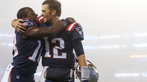 Oct 22, 2017; Foxborough, MA, USA; New England Patriots quarterback Tom Brady (12) celebrates with wide receiver Matthew Slater (18) after defeating the Atlanta Falcons at Gillette Stadium. Mandatory Credit: David Butler II-USA TODAY Sports