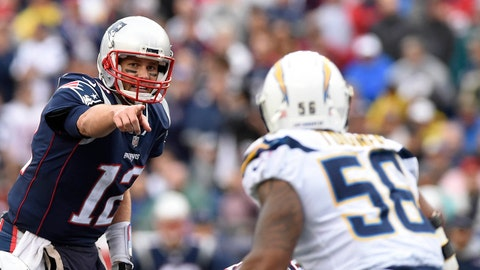 Oct 29, 2017; Foxborough, MA, USA; New England Patriots quarterback Tom Brady (12) directs the offense during the second half against the Los Angeles Chargers at Gillette Stadium. Mandatory Credit: Bob DeChiara-USA TODAY Sports
