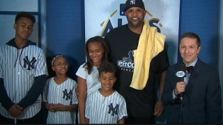 CC Sabathia and family talk to Ken Rosenthal after his solid pitching performance in game 3 of the ALCS
