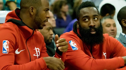 Oct 18, 2017; Sacramento, CA, USA; Houston Rockets guard Chris Paul (3) and guard James Harden (13) on the bench during the second quarter against the Sacramento Kings at Golden 1 Center. Mandatory Credit: Kelley L Cox-USA TODAY Sports