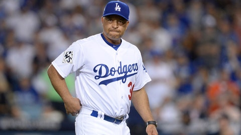 Oct 25, 2017; Los Angeles, CA, USA; Los Angeles Dodgers manager Dave Roberts (30) makes a pitching change in the 8th inning against the Houston Astros in game two of the 2017 World Series at Dodger Stadium. Mandatory Credit: Gary A. Vasquez-USA TODAY Sports