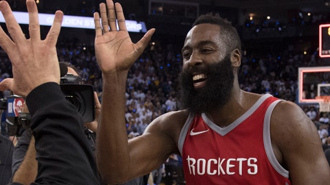 October 17, 2017; Oakland, CA, USA; Houston Rockets owner Tilman Fertitta (left) celebrates with guard James Harden (13) after the game against the Golden State Warriors at Oracle Arena. The Rockets defeated the Warriors 122-121. Mandatory Credit: Kyle Terada-USA TODAY Sports