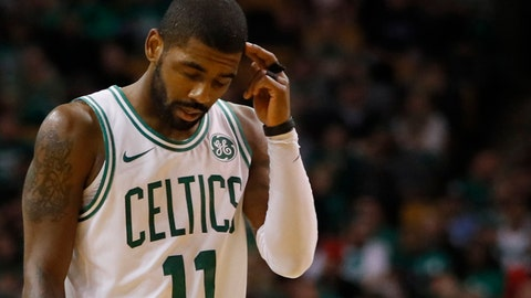 Oct 18, 2017; Boston, MA, USA; Boston Celtics guard Kyrie Irving (11) reacts to a Celtics penalty as they take on the Milwaukee Bucks in the third quarter at TD Garden. Mandatory Credit: David Butler II-USA TODAY Sports