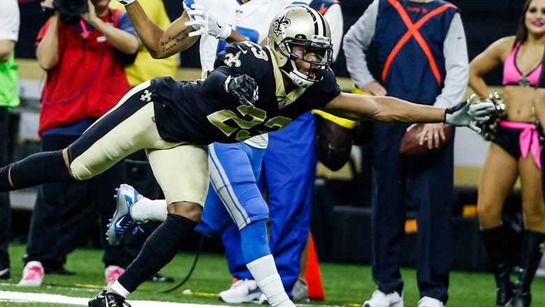 New Orleans' Marshon Lattimore picks off Matt Stafford and takes it 27 yards to the house