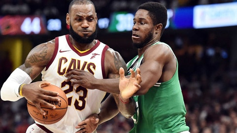 Oct 17, 2017; Cleveland, OH, USA; Cleveland Cavaliers forward LeBron James (23) drives to the basket against Boston Celtics forward Semi Ojeleye (37) during the first half at Quicken Loans Arena. Mandatory Credit: Ken Blaze-USA TODAY Sports