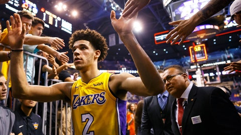 Oct 20, 2017; Phoenix, AZ, USA; Los Angeles Lakers guard Lonzo Ball (2) greets fans following the game against the Phoenix Suns at Talking Stick Resort Arena. The Lakers defeated the Suns 132-130. Mandatory Credit: Mark J. Rebilas-USA TODAY Sports