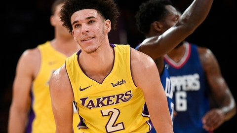Oct 19, 2017; Los Angeles, CA, USA; Los Angeles Lakers guard Lonzo Ball (2) reacts after a foul against the LA Clippers during the first half at Staples Center. Mandatory Credit: Kelvin Kuo-USA TODAY Sports