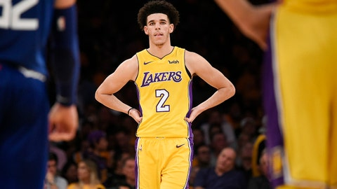 Oct 19, 2017; Los Angeles, CA, USA; Los Angeles Lakers guard Lonzo Ball (2) looks on during the second half against the LA Clippers at Staples Center. Mandatory Credit: Kelvin Kuo-USA TODAY Sports