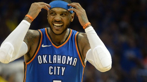 Oct 19, 2017; Oklahoma City, OK, USA;  Oklahoma City Thunder forward Carmelo Anthony (7) reacts after a play against the New York Knicks during the fourth quarter at Chesapeake Energy Arena. Mandatory Credit: Mark D. Smith-USA TODAY Sports