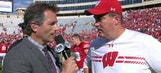 Bruce Feldman chats with Wisconsin head coach Paul Chryst, after the Badgers' dominant win