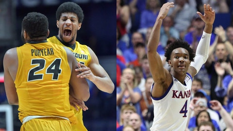 Kevin Puryear and Jordan Barnett of Mizzou Tigers from 2016-17 season; Kansas Jayhawks' Devonte' Graham from 2016-17 season.