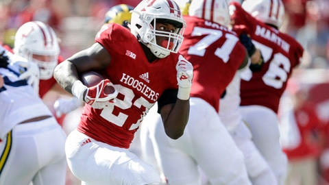 Indiana running back Morgan Ellison (27) scores a touchdown against Michigan during the second half of an NCAA college football game in Bloomington, Ind., Saturday, Oct. 14, 2017. Michigan won 27-20 in overtime. (AP Photo/AJ Mast)