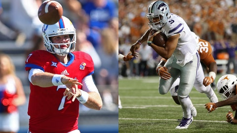 Kansas quarterback Carter Stanley and Kansas State quarterback Alex Delton